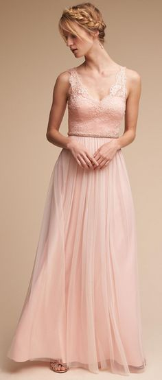 Modest Tulle V-neck Neckline Floor-length A-line Bridesmaid Dresses With Lace Appliques & Belt Source by jazzseno hochzeitsgast pastell Blush Bridesmaid Dresses, Blush Dresses, Lace Bridesmaid Dresses, Ball Dresses, Ball Gowns, Unconventional Wedding Dress, Cheap Wedding Dress, Designer Wedding Dresses, Bridal Gowns