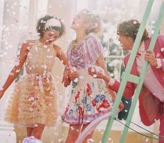 Confetti, friends, frilly dresses!