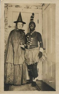Creepy vintage Halloween costumes - old photo.