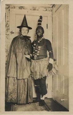 Creepy vintage Halloween costumes - old photo.