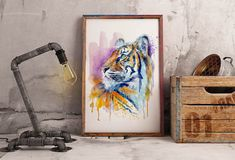 #TigerHead #WatercolorAnimals #BigCats #InstantDownload #Wildlife #Etsy Watercolor Tiger, Watercolor Paintings Of Animals, Watercolor Walls, Dog Paintings, Watercolor Portraits, Tiger Poster, Wildlife Decor, Gift Ideas, Decor Ideas