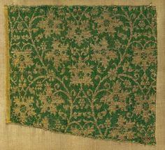 Fragmento de textil en seda e hilos de oro, del siglo XIV. Período selyúcida.