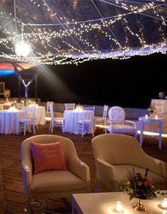 2014 starlight beach wedding decor idea, string lights beach wedding decor idea.
