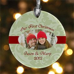 Our First Christmas© Personalized Photo Ornament