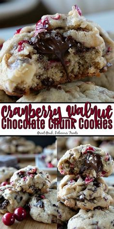 Cranberry Walnut Chocolate Chunk Cookies are loaded with little chunks of chocolate and chocolate chips, along with fresh cranberries and walnuts. Cranberry Dessert, Cranberry Cookies, Chocolate Chunk Cookies, Chocolate Chips, Chocolate Desserts, Yummy Treats, Sweet Treats, Fresh Cranberries, Homemade Chocolate