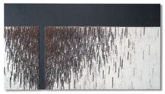 """GREY BREAK, Mary Giles, copper, paint and wood, 30"""" x 54"""" , 2010"""