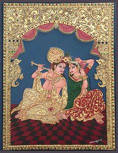 Tanjore paintings are characterised by rich, flat and vivid colors, simple iconic composition, glittering gold foils overlaid on delicate but extensive gesso work and inlay of glass beads and pieces or very rarely precious and semi-precious gems.