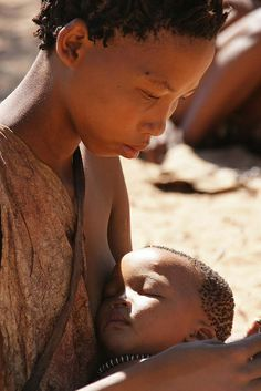 Africa: San woman and child, Namibia