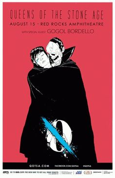 Concert Poster For Queens Of The Stone Age And Gogol Bordello At Red Rocks Amphitheathre In