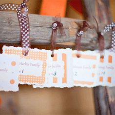 A rustic wedding with an earthy brown and orange color palette. Lots of fun DIY touches.