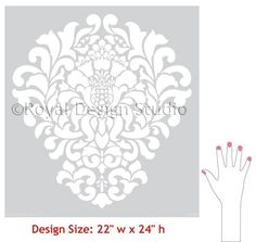 Large Wall Stencil Pattern Grand Damask by royaldesignstencils