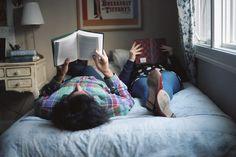 Reading together.