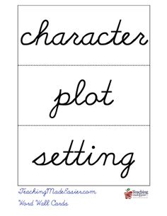 Worksheets Wmeasy Cursive create story elements word wall cards in 3 easy steps with teachingmadeeasier com cursive step 1 enter