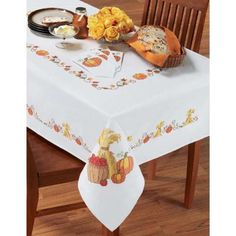 Village Linens™ Harvest Time Tablecloth Stamped Cross-Stitch