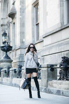 Casual Late Summer :: Funnel neck sweatshirt & Tall boots :: Outfit ::  Top :: BlankNYC jacket (under $100), Veronica Beard sweatshirt Bottom :: Topshop Boots :: Stuart Weitzman (similar here under $100) Bag :: Celine Accessories :: Karen Walker sunglasses, Charlotte Tilbury 'Bond Girl' lip color Published: September 19, 2016