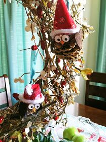 pinecone owl ornament -- My Cotton Creations