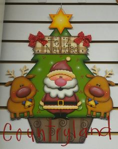 Adorno navideño. www.countryland.com.mx Christmas Wood Crafts, Christmas Items, All Things Christmas, Christmas Holidays, Merry Christmas, Christmas Decorations, Xmas, Christmas Ornaments, Holiday Decor