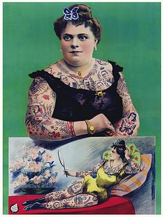 Tattooed Woman Vintage Circus Sideshow Posters & Canvas Prints
