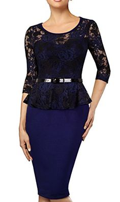 HOMEYEE Womens Elegant Lace Vintage Cocktail Business Party Pencil Dress B360 12 Dark Blue *** See this great product.
