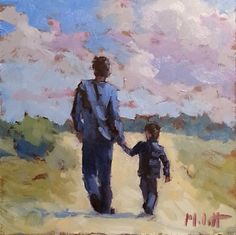 Heidi Malott Original Paintings: Father and Son Portrait Original Oil Painting Impr...