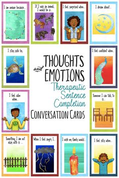 Thoughts, Feelings, and Emotions Therapeutic Sentence Completion Conversation Cards to for School Counselors, Therapists, and Parents.