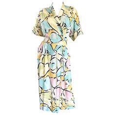 """Betty White's """" Golden Girls """" Vintage 1980s Boho Pastel Abstract Shirt Dress  