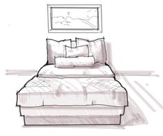 Interior Design Rendering: How to draw texture on bedding material