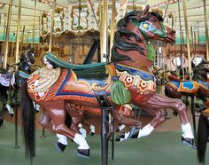 Santa Cruz Beach Boardwalk Carousel Looff Outside Row Jumper © Chris Benson