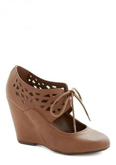 Shape Up Your Day Wedges, Brown | Mod Retro Vintage Heels |