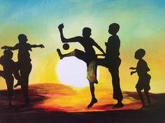 Original painting of a silhouette of African kids playing in the sunset by Ugandan artist, Davis Muwumba.  etsy.com/nyumbaniafroart