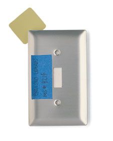 Never forget your paint color by this ridiculously smart tip from Martha Stewart: Write the product name, paint color and product number on a piece of painter's tape and tape it to the inside of a light switch plate : )