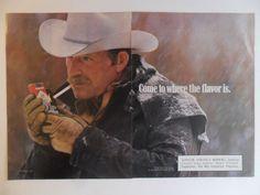 1988 Print Ad Marlboro Man Cigarettes ~ Western Cowboy White Hat Falling Snow