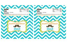 CHEVRON MUSTACHE candy bar label  You by PrettyPartyCreations, $8.00