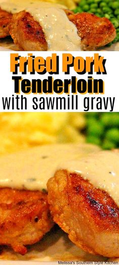 You'll serve comfort food for dinner tonight with this recipe for tender Fried Pork Tenderloin And Sawmill Gravy with a generous side of mashed potatoes. Port Tenderloin Recipe, Fried Pork Tenderloin, Pork Tenderloin Sandwich, Pork Chops And Gravy, Pork Loin, Pork Roast, Pork Chop Recipes, Meat Recipes, Chicken Recipes