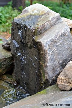 Bubbling rock fountain water feature diy