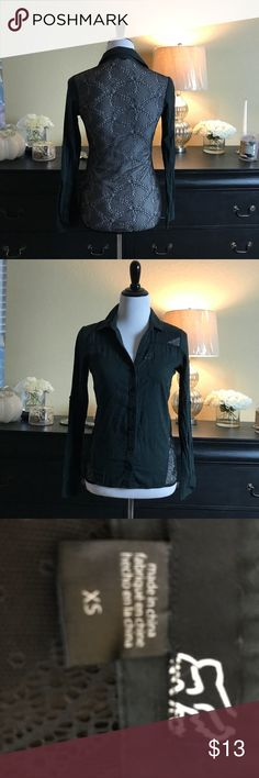 Host Pick  Fox Black Button Up Lace Back XS Sexy lace back button up shirt. Fox XS Fox Tops Button Down Shirts