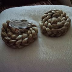 Ram's Horn Hair falls for Medieval Garb  Made by me.  Braids sewn to hair combs.