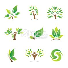Tree of life logos and icons Royalty Free Stock Vector Art Illustration