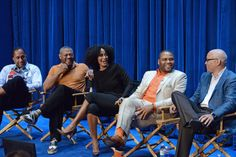 (L-R): black-ish creator & executive producer Kenya Barris, Laurence Fishburne, Tracee Ellis Ross, Anthony Anderson and executive producer Larry Wilmore at the 2014 PALEYFEST Fall TV Previews honoring ABC's black-ish and Cristela at The Paley Center for Media in Beverly Hills on September 11, 2014.  http://www.redcarpetreporttv.com/2014/09/12/abc-brings-more-diversity-in-new-comedy-series-honored-at-paleyfest-fall-tv-preview-of-cristela-and-black-ish-video-blackishabc-cristela/