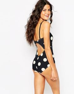 Monki | Monki Laurelle Spotty Swimsuit at ASOS
