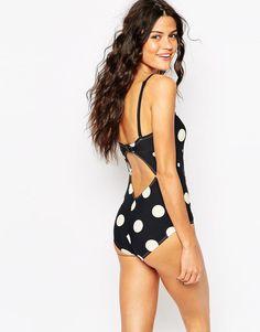 Monki | Monki Laurelle Spotty Swimsuit at ASOS