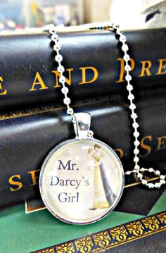 "Jane Austen. Mr. Darcy's girl. Pride and Prejudice. 1""sterling silver, glass & ball chain necklace. Book, reading, writing, quote."