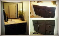 Bathroom Redo….the Vanity using Annie Sloan Graphite Chalk Paint #chalkpaint before and after