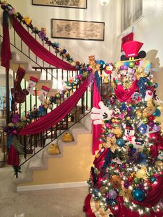 Disney Christmas Tree I Also Do This With The Garland But Will Have To Add Sash Beautiful