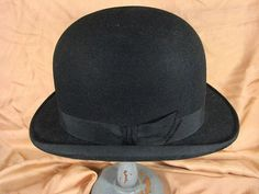 1910s Black Bowler Hat    size 7 1/8    by AliceBlueGownVintage