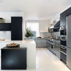 Modern mixed-materials kitchen | Modern kitchens | Contemporary kitchen | PHOTO GALLERY | Beautiful Kitchens | Housetohome.co.uk