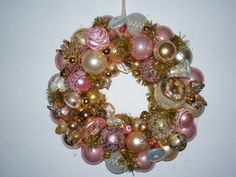 Rose and Pink Ornament Wreath - Vintage ornaments one of a kind