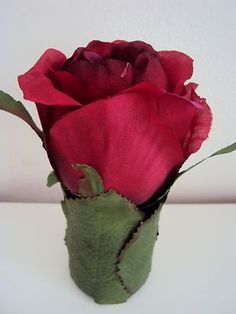 ROSE rouge Amour* à poser fleurs artificielles QUALITE 10cm idée cadeau*
