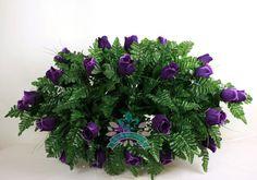 XL Beautiful Classic Dark Purple Roses Cemetery Tombstone Saddle Arrangement