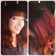 "Dark brown/black to bright red to orange blonde ombre. Brunette Red Ombre. Ombre for ""True Winter"" palette."
